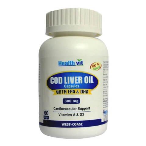 Healthvit Cod Liver Oil 300 mg (EPA & DHA),  60 softgels