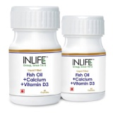 INLIFE Fish Oil + Calcium + Vitamin D3 (500 Mg) Pack Of 2,  60 Capsules