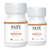 INLIFE Vitamin D3 (2000 IU) Pack Of 2,  60 Capsules