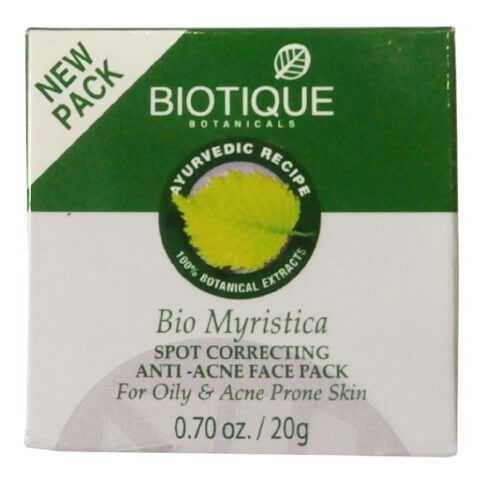 Biotique Bio Myristica Spot Correcting Anti Acne Face Pack,  20 g  for Oily & Acne Prone Skin