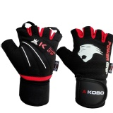 KOBO Weight Lifting Fitness Gym Gloves,  Black & Red  Small