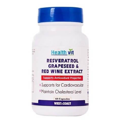 Healthvit Resveratol Grapeseed & Red Wine Extract,  60 capsules
