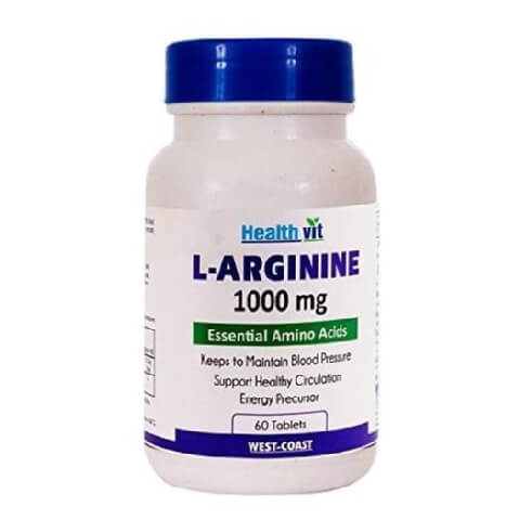 Healthvit L-Arginine (1000 mg),  60 tablet(s)