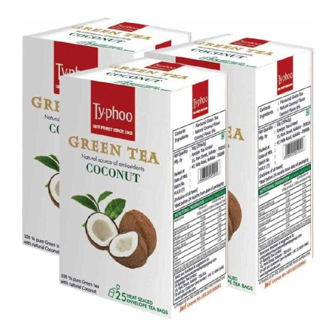 Typhoo Green Tea, 25 Piece(s)/Pack Coconut - Pack of 3