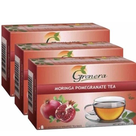 Grenera Moringa Tea,  Pomegranate  20 Piece(s)/Pack  - Pack of 3