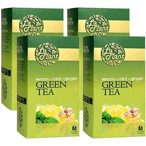 Laplant Green Tea, 25 Piece(s)/Pack Lemon, Mint & Ginger - Pack of 4