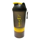 MuscleXP Smart Advanced Gym Shaker,  Transparent Black & Yellow  500 Ml