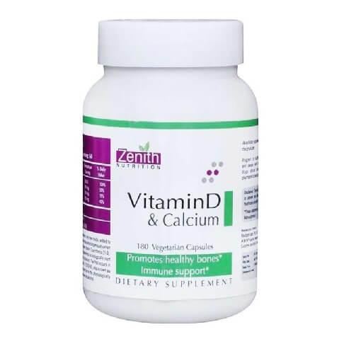 Zenith Nutrition Vitamin D & Calcium,  Unflavoured  180 capsules