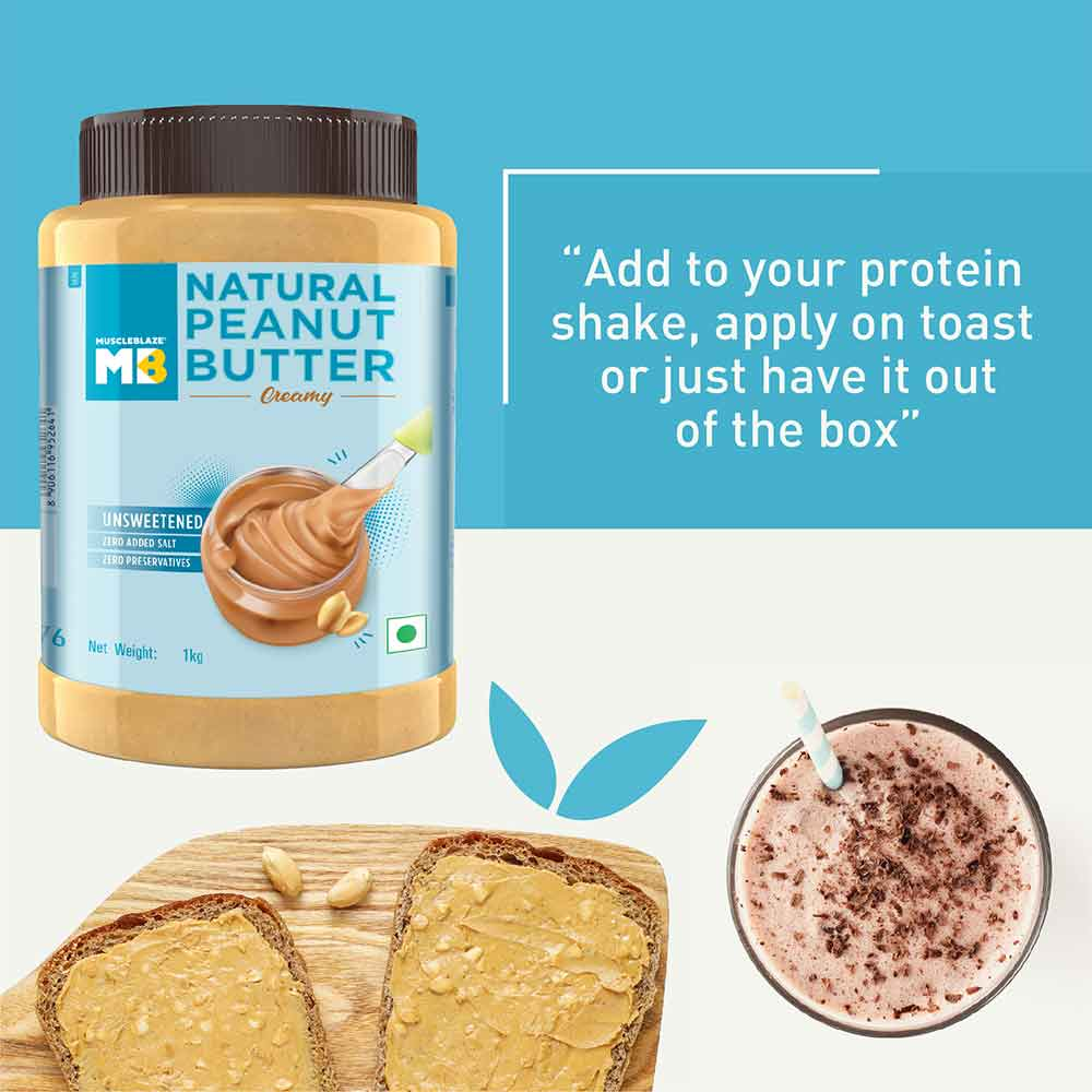 5 - MuscleBlaze Natural Peanut Butter Unsweetened,  1 kg  Super Smooth