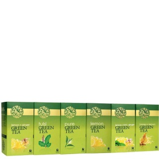Laplant Green Tea Collection X,  150 Tea Bag(s)  Lemon Ginger, Tulsi, Pure, Lemon, Lemon Mint Ginger & Honey Lemon